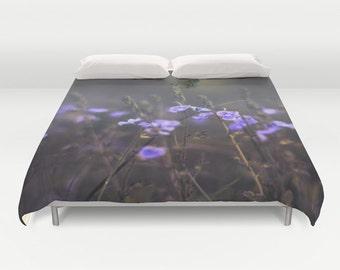 Wildflowers Duvet Cover, Lilac Decorative bedding, unique design, Nature comforter cover, Dark, Butterfly Bedding, Dorm bedding, Whimsical