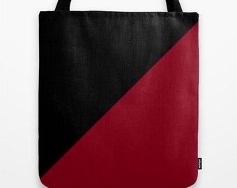 Black Dark Red Tote Bag, 13x13,16x1618x18, Color Block Tote, Beach Tote, Lunch Tote Bag, Market Tote,Contemporary Tote,Teen Tote, Canvas Bag