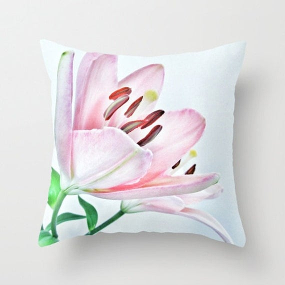 Lily Throw Pillow, Pink Decorative Pillow, Cushion, Wedding Gift, Flower Pillow, Petals, Nature Pillow, Dorm, Office, Nursery, Feminine,Pink