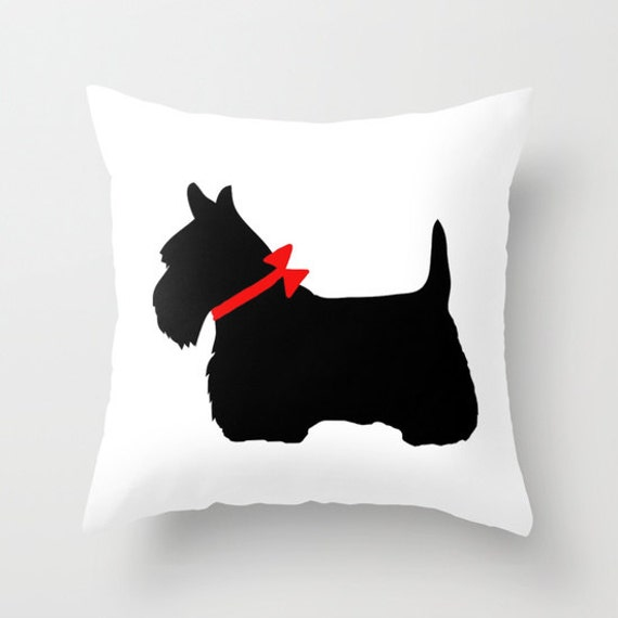 Scottie Dog Throw Pillow, Scotty Dog Pillow, Black Dog Pillow, Decorative Pillow Cover, Cute Home Decor, Patio, Outdoor, Cute Pillow,Red Bow