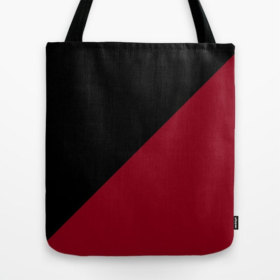 Black Dark Red Tote Bag, 13x13,16x1618x18, Color Block Tote, Beach Tote, Lunch Tote Bag, Market Tote,Contemporary Tote,Teen Tote, Canvas Bag