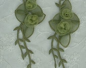 2 Pc GREEN Organza Ribbon Rose Fabric Flower Valentine Appliques Embroidered Iron On Baby Bridal Sewing Headband Embellishment