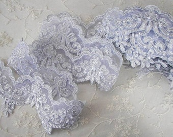 Silver Bridal Alecon Lace Trim Embellished Beaded w Pearls Sequins