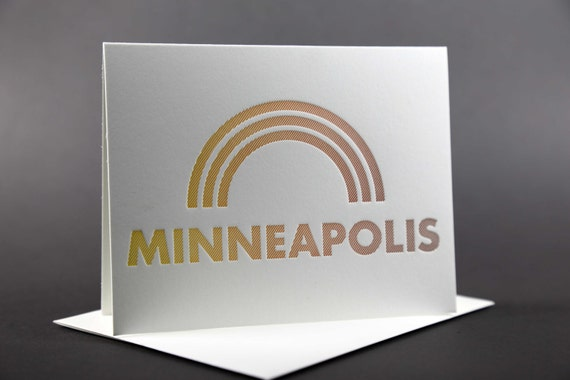 Rainbow Roll: MINNEAPOLIS letterpress card