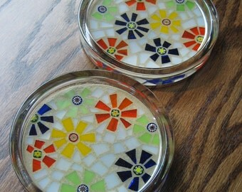 Multi Color Stained Glass and Millefiori Mosaic Coaster Set