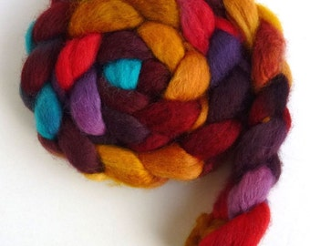 BFL Wool Roving - Hand Painted Spinning or Felting Fiber, Summer Heat
