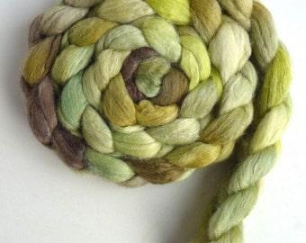 Polwarth/Silk 60/40 Roving - Handpainted Spinning or Felting Fiber, Dry Grass