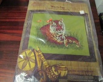 Vintage Paragon Crewel Kit Tiger Where's Papa 0524 Adele Veres Complete and Ready to Stitch