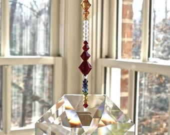 "BEST Rainbow Maker We Sell - Huge  60mm(2.4"") Swarovski Crystal Octagon Prism Suncatcher on Rainbow Strand  - ""OCTAVIA VENTI Rainbow"""