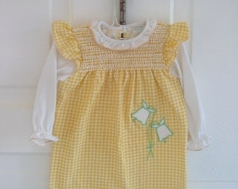 Vintage Child Baby Girl Clothes Overall Romper Carters Yellow Gingham 6 months Flutter Sleeves