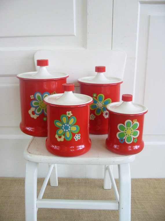 vintage canister set red blue flowers retro kitchen metal sixties