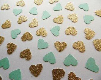 Gold Glitter Heart Confetti, Turquoise Shimmer Hearts, Table Scatter, Party Decoration, Bridal Shower Decor, Wedding Reception Decoration