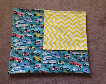 Cozy Flannel Baby Blanket Baby Boy Trains Trucks Cars