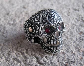 Flower skull sterling silver ring with details, gothic, calaca, mens ring, big ring,sugar skull, anillo calavera de plata