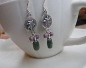 Green Fancy Jasper, Czech Glass, Sterling Silver Abstract Design Dangle Earrings