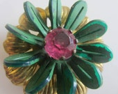 Vintage Button -  extra large,beautiful and unique flower design, bronze finish metal, green with pink rhinestone embellished(lot july 617)
