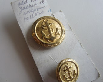 Vintage  Buttons - 2 gold metal anchor/ navy ( july 609)