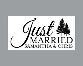 Just Married Wedding Car Magnets - Car Magnet Vintage Victorian French Country Rustic Woodland Tree Just Married Wedding Car Magnets