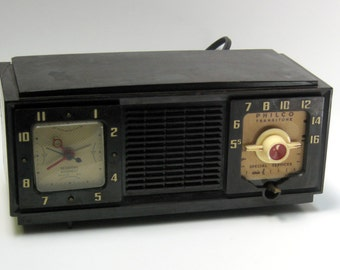 Vintage Philco Transitone Tube Radio with Session Movement Clock for Display and/or Repair