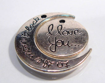 I Love you To the Moon and Back Silver Charms.....30x26mm