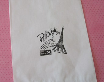 20 Paper Bags, Gift Bags, Candy Bags, Party Favor Bags, Paris Theme Party, Eiffel Tower, Paris Decorations, Sweet 16, White Paper Bags