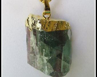 Lovely Green Fluorite Healing Gemstone Druzy Quartz Pendant w/Free Necklaces, Gemstone Fashion Jewelry for Women