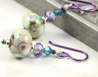 Multicolor Lampwork Earrings in Green, Teal Blue and Purple Crystal Purple Niobium Ear Wires Hypoallergenic Earrings Dangle Fall Jewelry