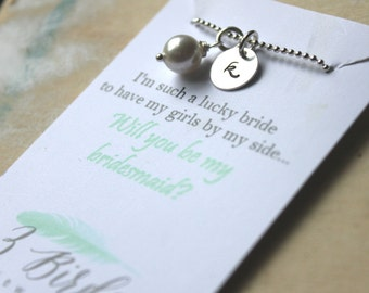 FREE SHIPPING. Bridesmaid Necklace. Sterling Silver Personalized Initial Charm. Swarovski Birthstone or Pearl. Wedding.