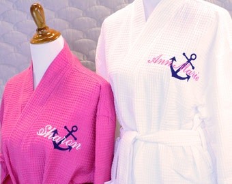 Bridesmaid Robes Personalized with Anchor & Name, , Bridesmaid Robes, Wedding, Gift for Her, Bridal Party Gifts