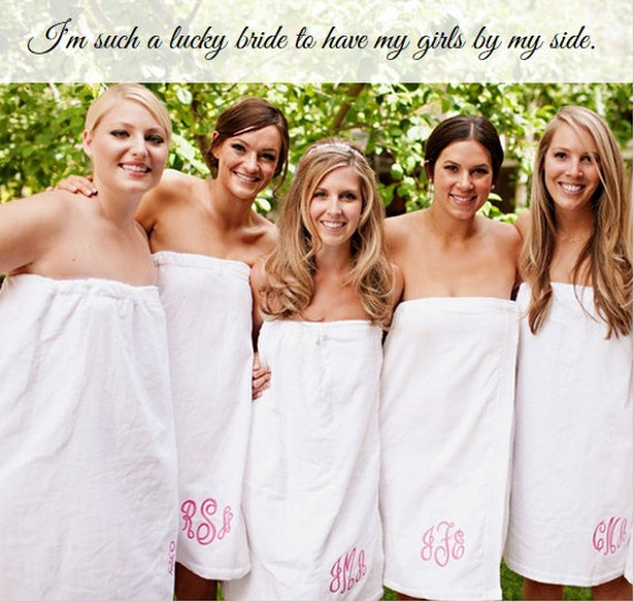 Personalized Bridesmaids Gift Spa Wrap Monogram Embroidered Gift