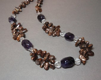 Stunning Amethyst Clear Quartz Crystal and Bronze Freshwater Pearl Necklace Sterling Silver S Hook Clasp