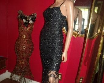 Vintage  90s Black Flapper Dress Fringes  Lace  Metallic  Tea party  Size S