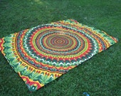 Stake Down Picnic Blanket, Green Red and Yellow Hippie Tapestry Picnic Blanket