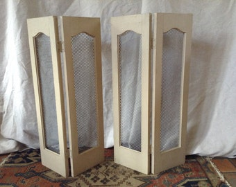 Vintage Arched Wood and Galvanized Metal Window Shutters