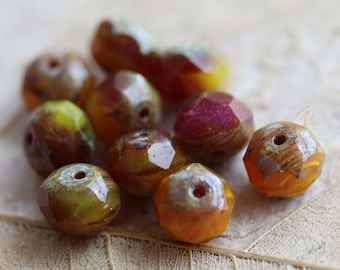 CITRUS BERRY SHERBET .. 10 Premium Picasso Czech Glass Beads 6x8mm (4666-10)