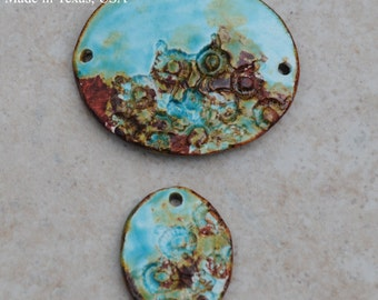Handmade Pottery Beads 2 piece set in Worldly Mix wiht a Lace Detail