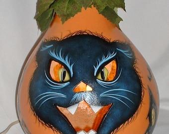 Black Cat Jack-O-Lantern Light Up Gourd - Hand Painted Gourd