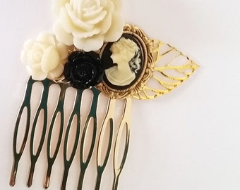 Black Lady Cameo Small Cluster Hair Comb - Fascinator Kitschy Cool Offbeat Wedding Bride Traditional