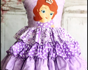 Sophia the First Girls Ruffled Disney Dress Custom size 2 3 4 5 6 7 8