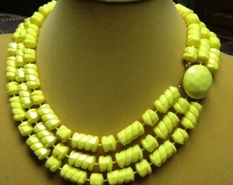 BEAUTIFUL textured triple strand  yellow necklace and matching earrings