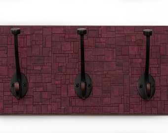 Maroon Coat Rack - Handmade Paper - Geometric Brick Mosaic - Mudroom Storage - Red Paper - Brick Red - Manly Decor - Cabin Decor