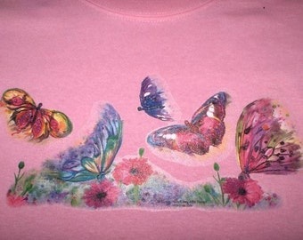Butterfly Sweatshirt OR Long Sleeve Tee Shirt Small thru 3XL Floral FREE SHIPPING Plus Sizes Too Grandma Wild Flower New Mom Garden