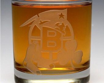 Engraved Boston Sports Teams OTR Glass.