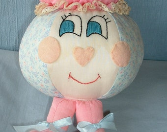 Handmade Girl Ball Doll, Pink & Blue, Bed Doll for Tween/Tween, Clearance Sale