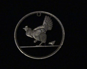 Ireland - cut coin pendant - Hen and Chick - 1942