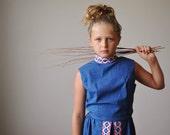1970s Indigo Folk Dress~Girls Size 10/12 or Womens size XXS (00/0)