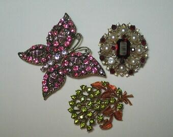 Rhinestone jewelry wear repair reuse Coro Mamselle Butterfly brooches