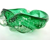 Vintage Glass Ashtray or Pinched Bowl - Translucent Aqua/Mint Green Colour With Controlled Bubbles