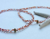 Delicate pink Czech glass stretch anklet