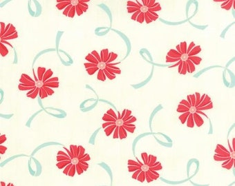 Clearance FABRIC HELLO DARLING Floral Bows in Aqua and Red by Moda 1/2 Yard